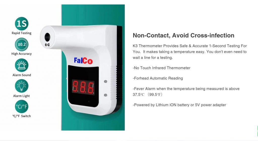 เครื่องวัดอุณหภูมิหน้าผากและฝ่ามือ Falco K3 detail1