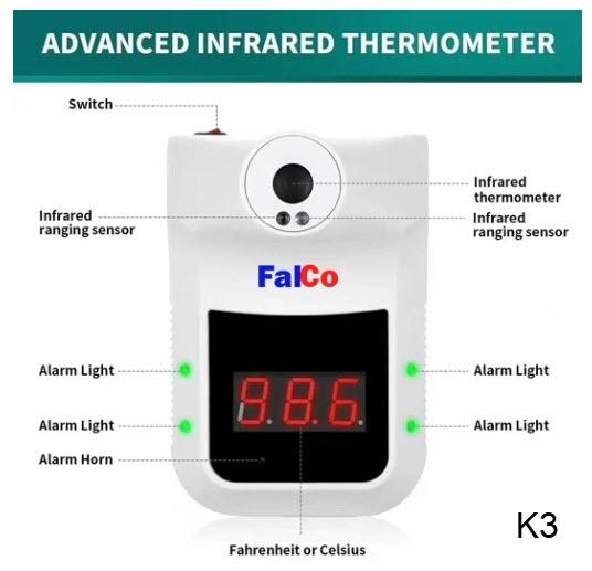 เครื่องวัดอุณหภูมิหน้าผากและฝ่ามือ Falco K3